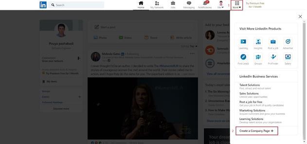 شروع ساخت صفحه در لینکدین